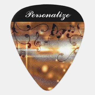 Púa De Guitarra Diseño musical de oro con clase