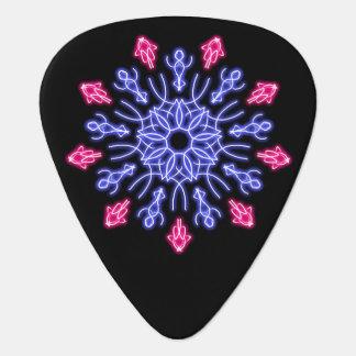 Púa De Guitarra Flor de neón azul y roja