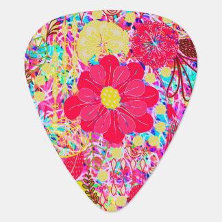 Púa De Guitarra Flores brillantes coloridas lindas