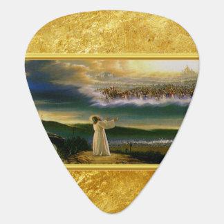 Púa De Guitarra Jesús en el diseño de la textura del oro de la