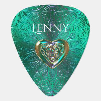 Púa De Guitarra Mandala céltica del corazón en oro verde