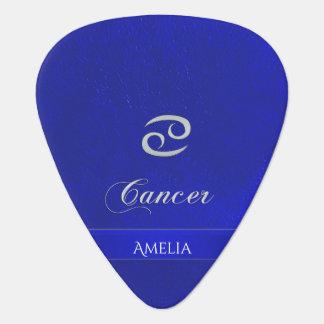 Púa De Guitarra Mirada de cuero azul del cáncer de la muestra del