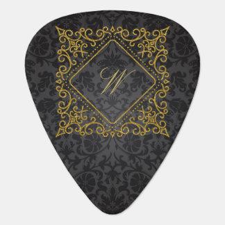 Púa De Guitarra Monograma adornado del diamante en el damasco