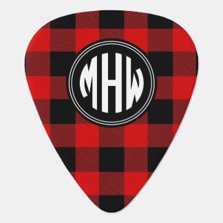 Púa De Guitarra Monograma rojo negro del círculo de la tela