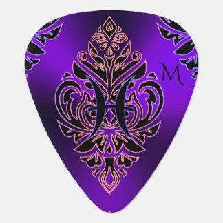 Púa De Guitarra Muestra púrpura caliente Piscis del zodiaco