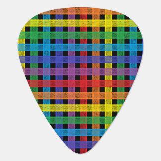Púa De Guitarra Negro de la tela escocesa del arco iris