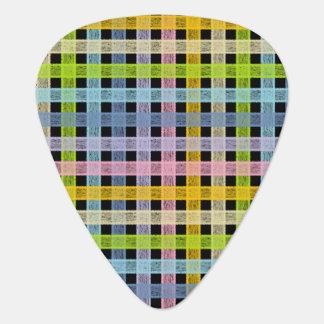 Púa De Guitarra Negro en colores pastel de la tela escocesa del