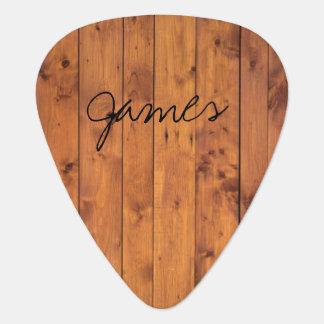 Púa De Guitarra Nombre de madera rústico