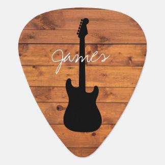 Púa De Guitarra Nombre manuscrito de madera rústico de la guitarra