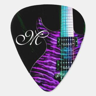 Púa de guitarra púrpura del monograma de la uñeta de guitarra