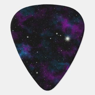 Púa de guitarra púrpura y azul de la galaxia