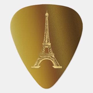 Púa De Guitarra Torre Eiffel de oro decorativa del monograma el |
