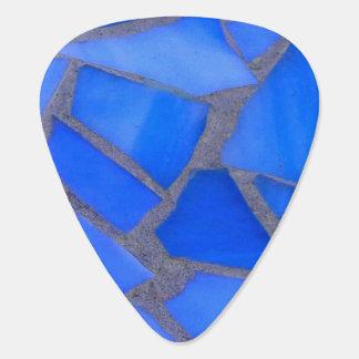 Púa De Guitarra Vitral azul del mosaico de Lapis