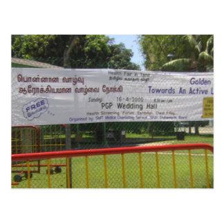 Publicidad de actividades del templo hindú postal