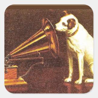 Publicidad del vintage, la voz de su amo calcomanias cuadradas