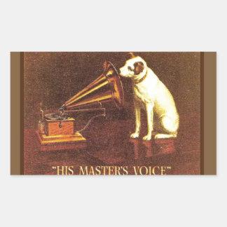 Publicidad del vintage, la voz de su amo pegatina rectangular