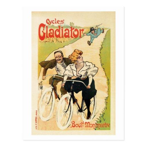 Publicidad francesa de la bicicleta del vintage postales