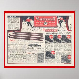 Publicidad, Skiwear y equipo del esquí del vintage Posters