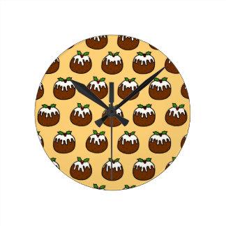 Pudines del navidad reloj redondo mediano