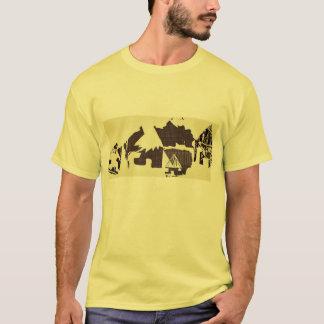 Pueblo africano amarillo que camina la camiseta