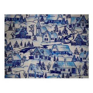 Pueblo azul del día de fiesta del navidad del postal