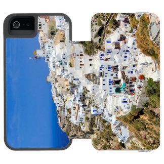 Pueblo de Oia en la isla de Santorini, del norte, Funda Cartera Para iPhone 5 Watson