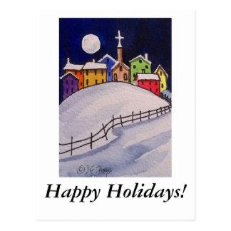 ¡Pueblo del navidad - buenas fiestas! Postal