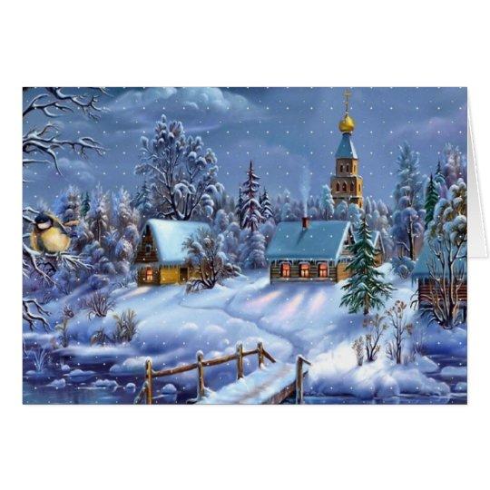 Pueblo del navidad del invierno tarjeta de felicitación