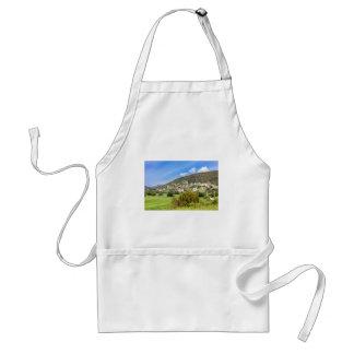 Pueblo del paisaje con las casas en el valle delantal