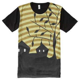 Pueblo extraño en la noche camiseta con estampado integral