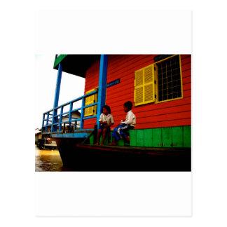 Pueblo flotante de Camboya Postal