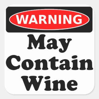 Puede contener el vino pegatina cuadrada
