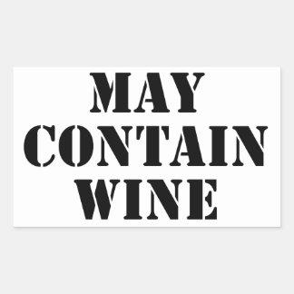 Puede contener el vino pegatina rectangular