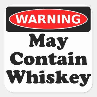 Puede contener el whisky pegatina cuadrada
