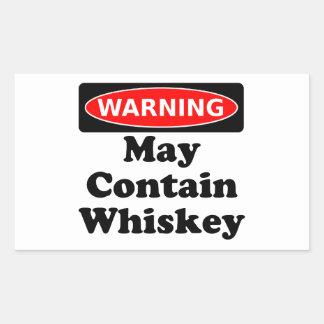 Puede contener el whisky pegatina rectangular