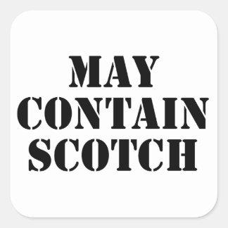 Puede contener escocés pegatina cuadrada