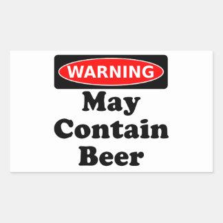 Puede contener la cerveza pegatina rectangular