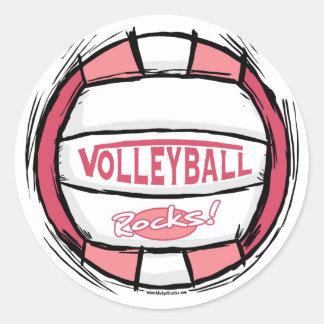 Puede el empuje de U él rosa del voleibol Pegatina Redonda