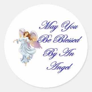 Puede usted ser bendecido por un ángel pegatina redonda