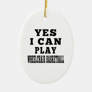 Puedo jugar sí a baloncesto de silla de ruedas ornamento para arbol de navidad