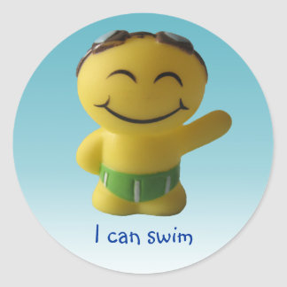 Puedo nadar pegatina redonda