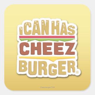 Puedo tengo Cheezburger la sombra Calcomanías Cuadradas