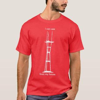 Puedo ver Sutro de mi casa, todo-blanca en rojo Camiseta