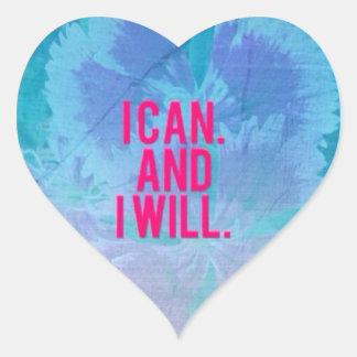 ¡Puedo y lo voy a hacer! Pegatina En Forma De Corazón