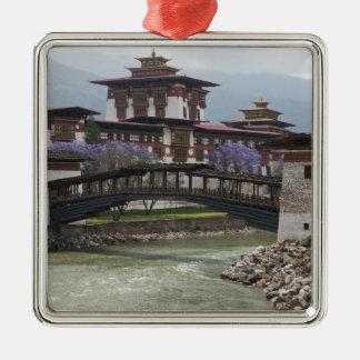 Puente Cantilevered cerca del palacio de Punakha D Adornos De Navidad
