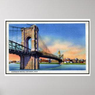 Puente colgante de Roebling del vintage, Cincinnat Póster