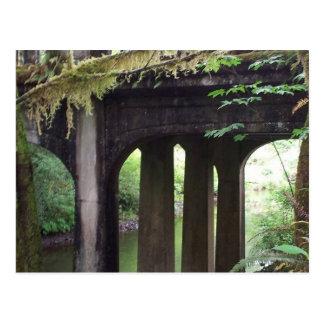 Puente cubierto de musgo sobre el río del postal