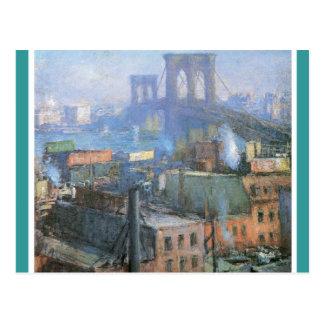 Puente de Brooklyn, East River, circa 1916 Postal