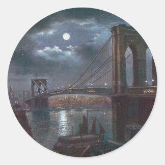 Puente de Brooklyn por claro de luna Pegatina Redonda
