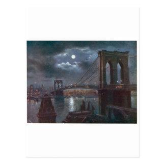 Puente de Brooklyn por claro de luna Postal